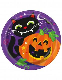 Halloween Pappteller-Set Kürbis und Katze 8 Stück bunt 23 cm