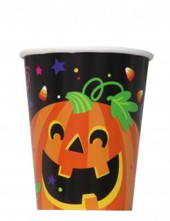 Kürbis Becher Halloween Pappbecher Set 8 Stück schwarz-orange 25cl