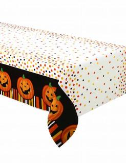 Halloween-Tischdecke Lachender Kürbis aus Plastik weiss/bunt