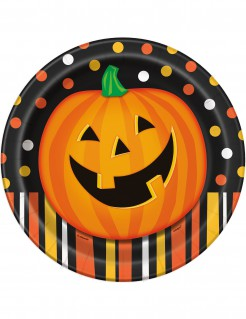 Kürbisteller Halloween Teller Set 8 Stück orange-schwarz 23cm