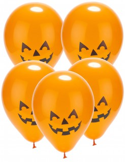 Kürbis-Luftballons mit LEDs Halloween-Partydeko 5 Stück orange