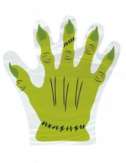 Halloween-Tüten Frankenstein-Hand 10 Stück grün-weiss-schwarz 24x24cm