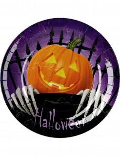 Pappteller mit Kürbis Halloween-Tischdeko 8 Stück bunt 23cm