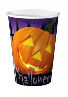 Halloween-Pappbecher mit Kürbis Tischdeko 8 Stück bunt 250ml