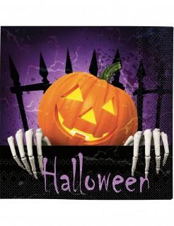 Gruselige Halloween-Servietten mit Kürbis Tischdeko 20 Stück bunt 33 x 33cm