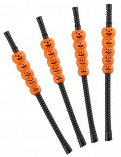 Halloween Strohhalme Kürbis Strohhalme 4 Stück orange-schwarz 21cm
