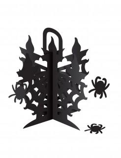 Halloween-Tischdekoration Kerzenleuchter mit Spinnen schwarz