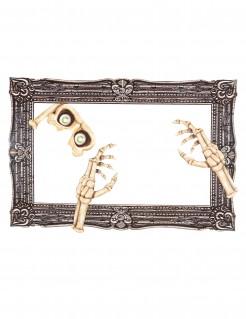 Skelett-Bilderrahmen für Fotos Halloweendeko grau-beige 39x60cm
