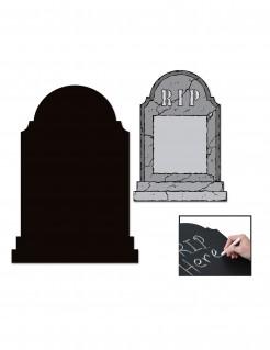 Beschreibbarer Grabstein Halloweendeko grau-schwarz 53x35cm