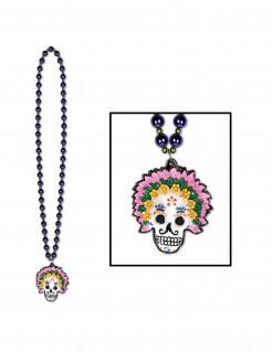 Dia de los Muertos Kette Sugar Skull Halsschmuck bunt 45,5cm
