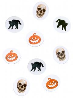 Halloween-Tischdeko Konfetti mit Halloween-Motiven schwarz-weiss-orange