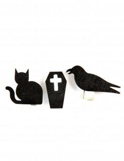 Holzklammern mit Halloween-Motiven Tischdeko 6 Stück schwarz 4 x 1,2cm