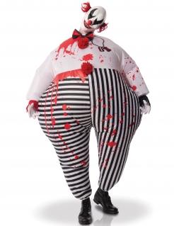 Aufblasbarer Horror Clown Halloweenkostüm schwarz-weiss-rot