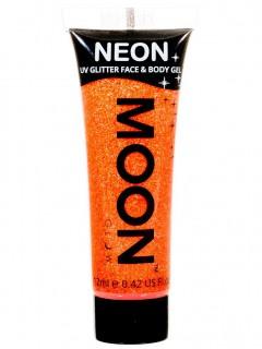 Moon Glow - Neon UV Glitter Gesicht- und Körperfarbe Schminke Makeup Bodypainting Glitzer fluoreszierend orange 12ml