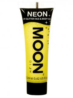Moon Glow - Neon UV Glitter Gesicht- und Körperfarbe Schminke Makeup Bodypainting Glitzer fluoreszierend gelb 12ml