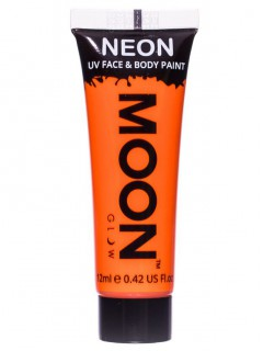 Moon Glow - Neon UV Gesicht- und Körperfarbe Schminke Makeup Bodypainting fluoreszierend intensiv orange 12ml