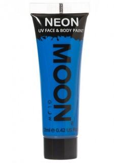 Moon Glow - Neon UV Gesicht- und Körperfarbe Schminke Makeup Bodypainting fluoreszierend intensiv blau 12ml