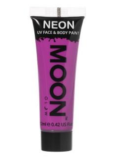 Moon Glow - Neon UV Gesicht- und Körperfarbe Schminke Makeup Bodypainting fluoreszierend intensiv violett 12ml