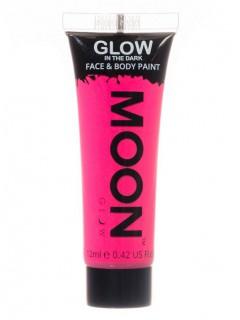 Moon Glow - Glow in the Dark UV Gesicht- und Körperfarbe Schminke Makeup Bodypainting nachtleuchtend rosa 12ml
