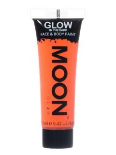 Moon Glow - Glow in the Dark UV Gesicht- und Körperfarbe Schminke Makeup Bodypainting nachtleuchtend orange 12ml