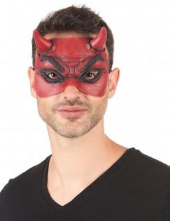 Teufel-Augenmaske aus Latex Halbmaske Kostümaccessoire rot-schwarz