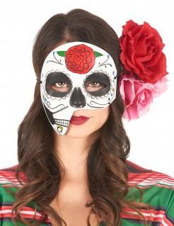 Dìa de los Muertos Gesichtsmaske mit Rose bunt