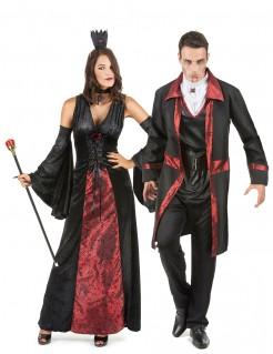 Vampir-Paarkostüm für Halloween schwarz-rot