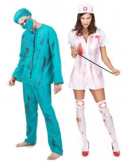 Zombie Krankenschwester & Artz Paarkostüm grün-weiss-rot