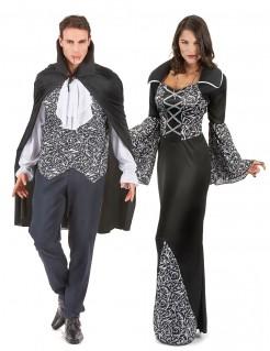 Vampir Gothic Paarkostüm schwarz-weiss-grau