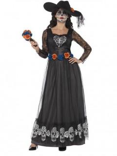 Tag der Toten Halloween-Braut Damenkostüm schwarz-orange-blau