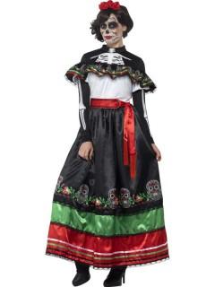 Mexikanisches Dia de los Muertos Damenkostüm Tag der Toten Kleid schwarz-rot-grün
