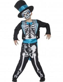 Skelett-Gentleman mit Zylinder Halloween-Kinderkostüm schwarz-weiss-blau