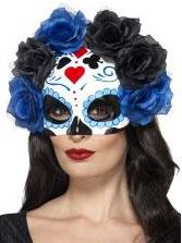Tag der Toten Maske mit Rosen blau-schwarz-weiss