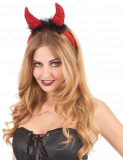 Teufelshörner-Haarreif mit Pailletten Teufelskostüm-Accessoire rot-schwarz