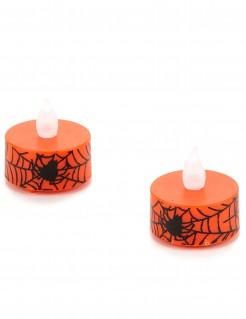Halloween-Leuchtkerzen mit LEDs Partydeko 2 Stück orange-schwarz 2 x 3,5cm