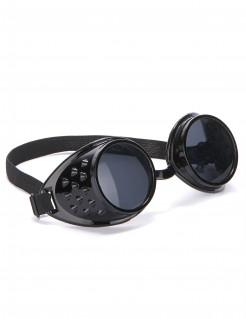 Steampunk-Bikerbrille für Erwachsene schwarz