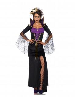 Böse Märchen-Hexe Halloween-Damenkostüm schwarz-lila-gold