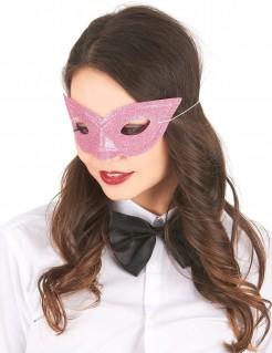 Glitzer-Maske Venezianische Maske für Erwachsene rosa