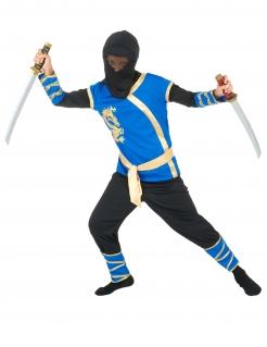 Jungen-Ninja-Kostüm Kinderkostüm für Halloween blau-schwarz