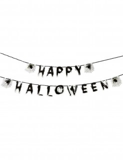 Insektengirlande Happy Halloween, 3 Meter schwarz-weiss