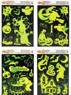 Nachtleuchtende Halloween-Fensterdekoration gelb 27 x 20cm