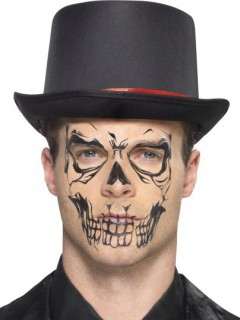 Dia de Los Muertos Skelett-Tattoo fürs Gesicht Halloween Make-up beige-schwarz
