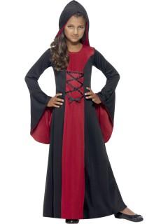 Edle Vampirin Halloween Kinderkostüm rot-schwarz