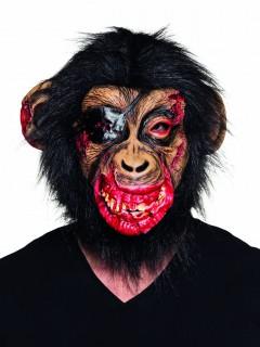 Zombie-Affe Halloween Latexmaske braun-rot-schwarz