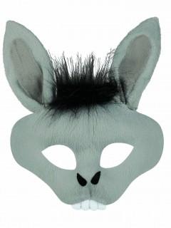 Fürchterliche Esel-Maske Halloween-Maske grau-schwarz