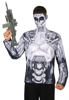Roboter-Oberteil Science-Fiction-Longsleeve grau-schwarz