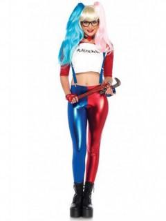 Sexy Harlekin-Kostüm für Damen Superschurkin rot-blau