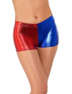 Elastische Harlekin Mini-Shorts für Damen rot-blau