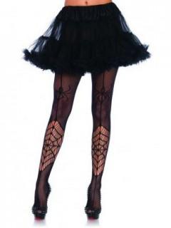 Halloween-Netzstrumpfhose mit Spinnennetz Kostüm-Accessoire schwarz