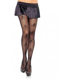 Strumpfhose mit Totenkopf Halloween schwarz
